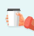 coffee break banner cardboard cup with hot drink vector image