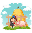 cute girl and two pigs on farm vector image vector image