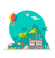 Flat design of beach guard tower on a beach vector image vector image