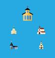 flat icon christian set of catholic building vector image vector image