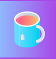glass cup with tea pocket isolated cartoon icon vector image