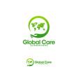 global care logo designs world charity logo vector image vector image