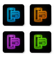 glowing neon nfc payment icon isolated on white vector image