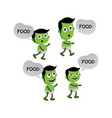green zombie monster character vector image