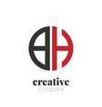 initial letter bh creative elegant circle logo vector image vector image