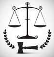 Justice Scales Symbol Law Hammer - Gavel Pictogram vector image vector image