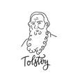 lev nikolayevich tolstoy linear sketch portrait vector image