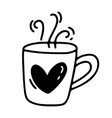 monoline cute cup of coffee with heart vector image