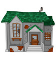 old house with green roof vector image vector image