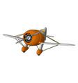 orange old retro plane on white background vector image