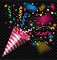 party popper for celebration on transparent vector image