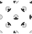 pearl in a sea shell pattern seamless black vector image