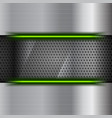 perforated steel background with green neon light vector image