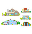 real estate houses and villa building icons vector image vector image