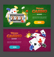 realistic casino banner horizontal set vector image