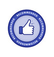 recommended icon line label recommended with vector image vector image