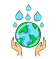 save world doodle style vector image vector image