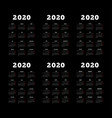 set 2020 year simple vertical calendars on vector image