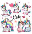 set cute cartoon unicorns vector image vector image