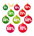 set discount tags 101520253040506070 vector image vector image