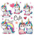 set of cute cartoon unicorns vector image vector image