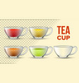 tea cups with color liquid 3d set vector image vector image