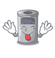 tongue out cartoon steel trash can in the office vector image