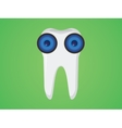 tooth cartoon with two eyes vector image