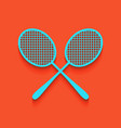 two tennis racket sign whitish icon on vector image vector image