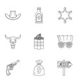 wild west element icon set outline style vector image vector image
