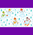winter pattern with snowmen snowflakes and vector image vector image
