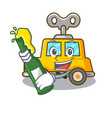 with beer clockwork toy car isolated on mascot vector image vector image
