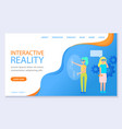 women in vr glasses virtual reality landing page vector image
