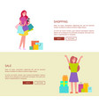 women with shopping bags vector image vector image
