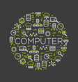 word computer surrounded by icons vector image vector image