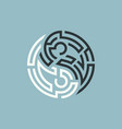 yin yang maze vector image