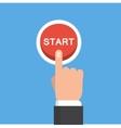 Businessman hand pressing start button just get vector image
