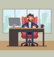 businessman working at desk with laptop in vector image