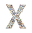 a group of people in the shape of english alphabet vector image vector image