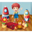 A young boy with his toys inside the room vector image vector image