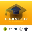 Academic cap icon in different style vector image