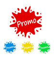 bright paint splash tag with promo stock vector image vector image