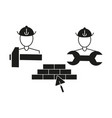 builder house repair icons vector image