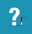 businesswoman holding hammer cracked question vector image vector image