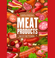 butcher shop meat gourmet sausages products poster vector image