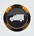 Button with orange black tartan - van car icon