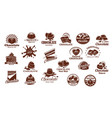 chocolate sweets icons set vector image vector image