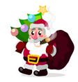 christmas card funny cartoon santa claus with vector image vector image