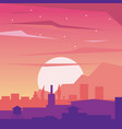 colorful background of dawn landscape of city with vector image