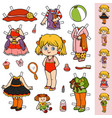 Colorful set paper doll and clothes